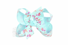 Girls Grosgrain Double Knot Bow on Clip - Pink Flamingo on Aqua