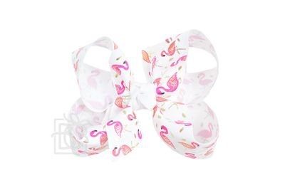 Girls Grosgrain Double Knot Bow on Clip - Pink Flamingo on White