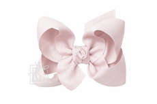 Girls Grosgrain Double Knot Bow on Clip - Powder Pink