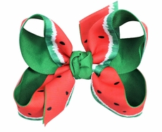 Girls Grosgrain Double Knot Bow on Clip - Red / Green Watermelon