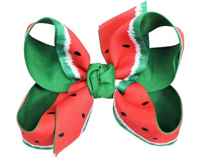 Beyond Creations Girls Grosgrain Double Knot Bow on Clip - Red / Green Watermelon