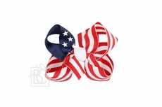 Girls Grosgrain Double Knot Bow on Clip - Stars & Stripes Patriotic - Navy Blue
