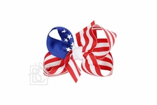 Girls Grosgrain Double Knot Bow on Clip - Stars & Stripes Patriotic - Royal Blue