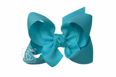 Beyond Creations Girls Grosgrain Double Knot Bow on Clip - Turquoise Blue