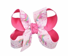 Beyond Creations Girls Grosgrain Double Knot Bow on Clip - Unicorns - Hot Pink Fuchsia