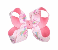 Girls Grosgrain Double Knot Bow on Clip - Unicorns - Pastel Pink