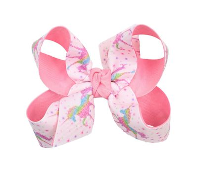 Beyond Creations Girls Grosgrain Double Knot Bow on Clip - Unicorns - Pastel Pink