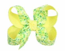 Beyond Creations Girls Grosgrain Double Knot Bow on Clip - Yellow & Green Lemon Lime