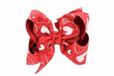 Girls Grosgrain Layered XL Bow on Cilp - Red Valentines Hearts