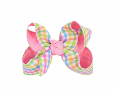 Beyond Creations Girls Hair Bow on Clip - Pink Pastels Plaid with Pink Knot
