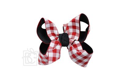 Girls Layered Bow on Clip - UGA - Black with Red Buffalo Plaid