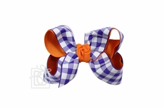 Girls Layered Bow on Clip - Clemson - Orange with Purple Buffalo Plaid