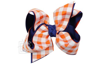 Girls Layered Bow on Clip - Auburn - Navy Blue with Orange Buffalo Plaid