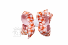 Girls Layered Bow on Clip - White with Orange Buffalo Plaid