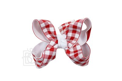Girls Layered Bow on Clip - Alabama - White with Red Buffalo Plaid