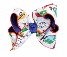 Beyond Creations Girls Layered Double Knot Bow on Clip - Back to School ABC - Royal Blue