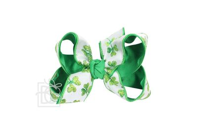Girls Layered Double Knot Bow on Clip - Green Lucky Clover St. Patrick's Shamrocks