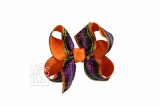 Girls Layered Double Knot Bow on Clip - Orange Halloween Plaid