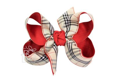 Girls Layered Double Knot Bow on Clip - Red / Tan Burberry Plaid
