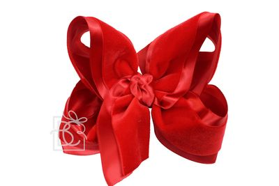 Beyond Creations Girls Layered Double Knot Bow on Clip - Satin & Velvet - Red