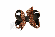 Girls Layered Double Knot Bow on Clip - Woven Fall Plaid - Brown