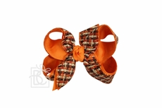 Girls Layered Double Knot Bow on Clip - Woven Fall Plaid - Orange