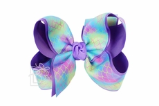 Beyond Creations Girls Layered Grosgrain Bow on Clip - Mermaid Ribbon - Orchid Purple