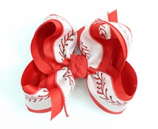Beyond Creations Girls Layered Grosgrain Bow on Clip - Red with Baseball Ribbon