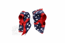 Girls Layered Patriotic Star Printed Grosgrain Bow - Navy Blue