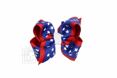 Girls Layered Patriotic Star Printed Grosgrain Bow - Royal Blue