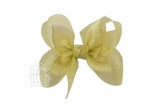 Girls Metallic Ribbon Double Knot Bow on Clip - Gold