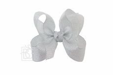 Girls Metallic Ribbon Double Knot Bow on Clip - Silver