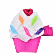 Girls Pinch Clip Add-On to Bow - Birthday Cupcake - Fuchsia