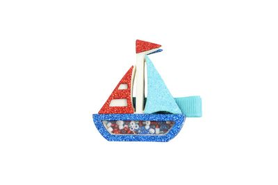 Girls Pinch Clip Add-On to Bow - Blue / Red Shaker Glitter Sailboat