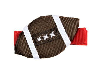 Girls Pinch Clip Add-On to Bow - Brown Football