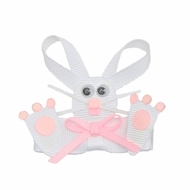 Girls Pinch Clip Add-On to Bow - Easter Bunny Feet - White