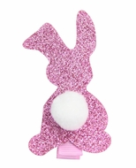 Girls Pinch Clip Add-On to Bow - Glitter Easter Bunny - Hot Pink