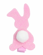 Girls Pinch Clip Add-On to Bow - Glitter Easter Bunny - Light Pink