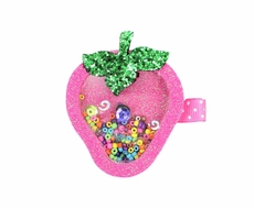 Beyond Creations Girls Pinch Clip Add-On to Bow - Glitter Shaker - Strawberry - Pink