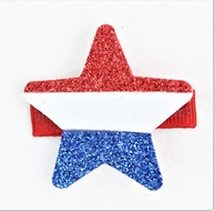 Beyond Creations Girls Pinch Clip Add-On to Bow - Glitter Star - Patriotic