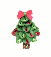 Beyond Creations Girls Pinch Clip Add-On to Bow - Green Christmas Tree