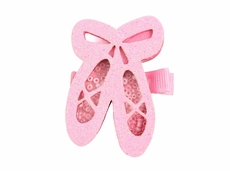 Girls Pinch Clip Add-On to Bow - Pink Shaker Glitter Ballet Shoes