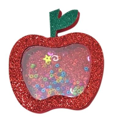 Beyond Creations Girls Pinch Clip Add-On to Bow - Red Glitter Shaker Apple for School - Large