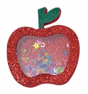 Girls Pinch Clip Add-On to Bow - Red Glitter Shaker Apple for School