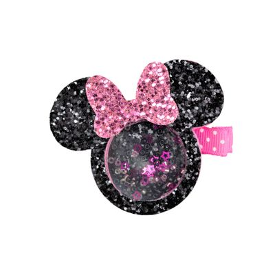 Beyond Creations Girls Pinch Clip Add-On to Bow - Shaker Glitter Mouse - Pink