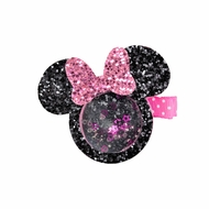 Girls Pinch Clip Add-On to Bow - Shaker Glitter Mouse - Pink
