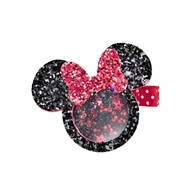 Girls Pinch Clip Add-On to Bow - Shaker Glitter Mouse - Red