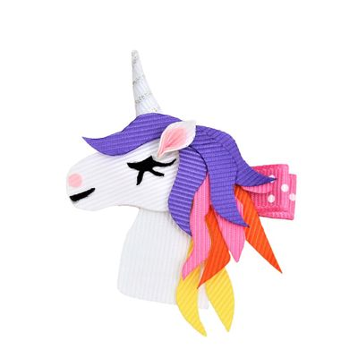 Beyond Creations Girls Pinch Clip Add-On to Bow - Unicorn with Rainbow Mane