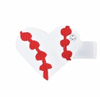 Girls Pinch Clip Add-On to Bow - White / Red Heart Baseball