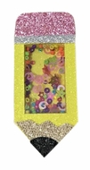 Beyond Creations Girls Pinch Clip Add-On to Bow - Yellow Glitter Shaker School Pencil